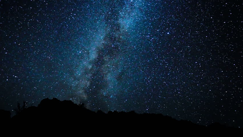 Timelapse Of Stars Moving In Night Sky Over Pine Trees ...