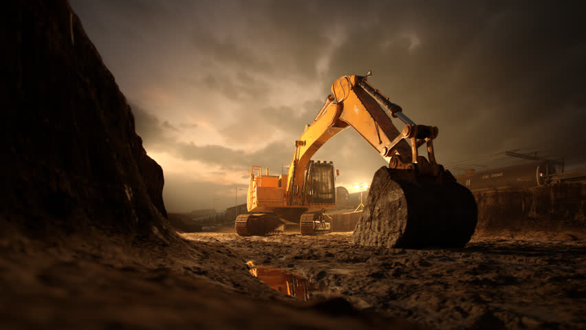 02566 Excavator Machine With Big Shovel On Construction Site Against Dramatic Sky | Shutterstock HD Video #15207634