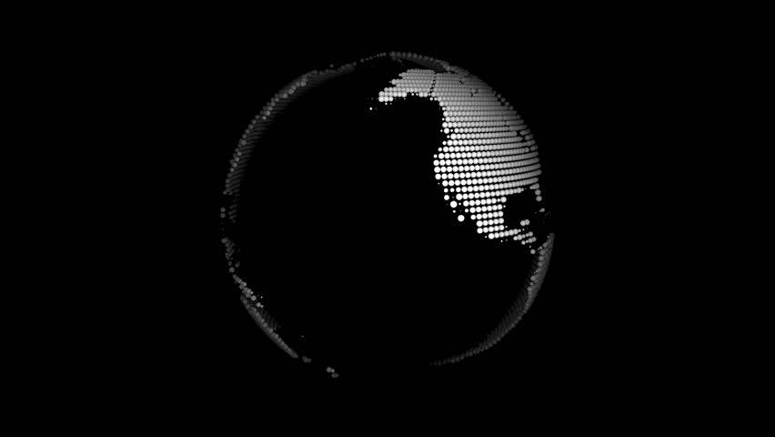 cyclic (closed, looped)  animated globe, globe Earth on black background