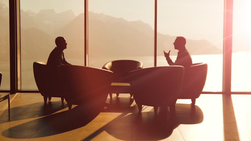 Business Meeting. 2 Businessman Having A Conversation ...