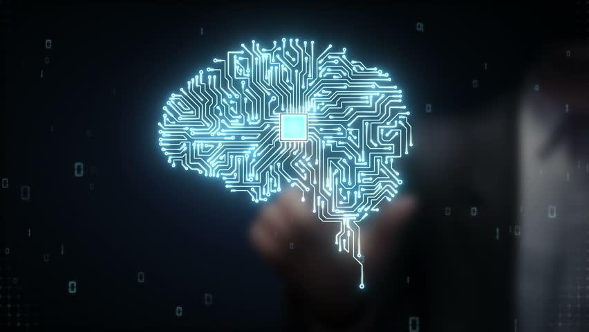 Businessman touching Brain CPU chip, grow artificial intelligence   Shutterstock HD Video #15450451