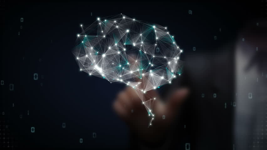 Businessman touching Brain connect digital lines, expanding artificial intelligence | Shutterstock HD Video #15451471