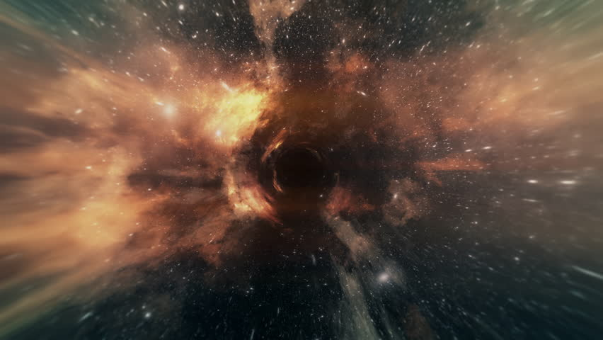 Wormhole straight through time and space, clouds, and millions of stars.