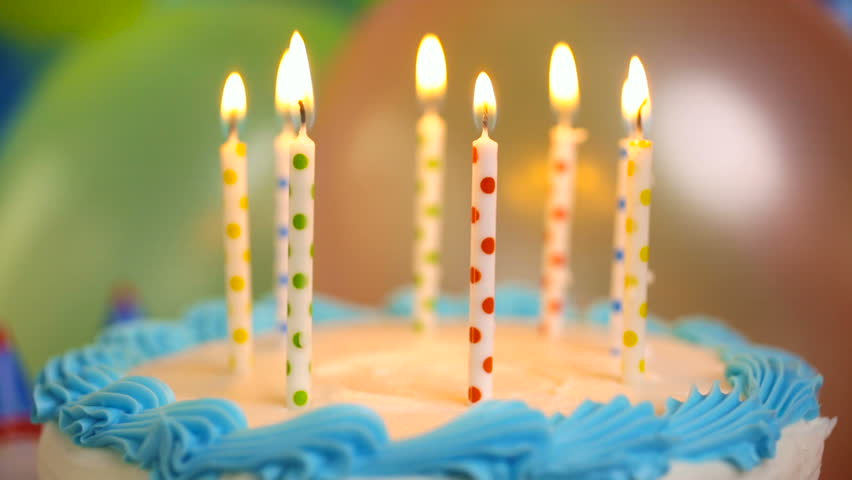 simple white birthday cake with cake candles stock footage video on birthday cake candles pictures