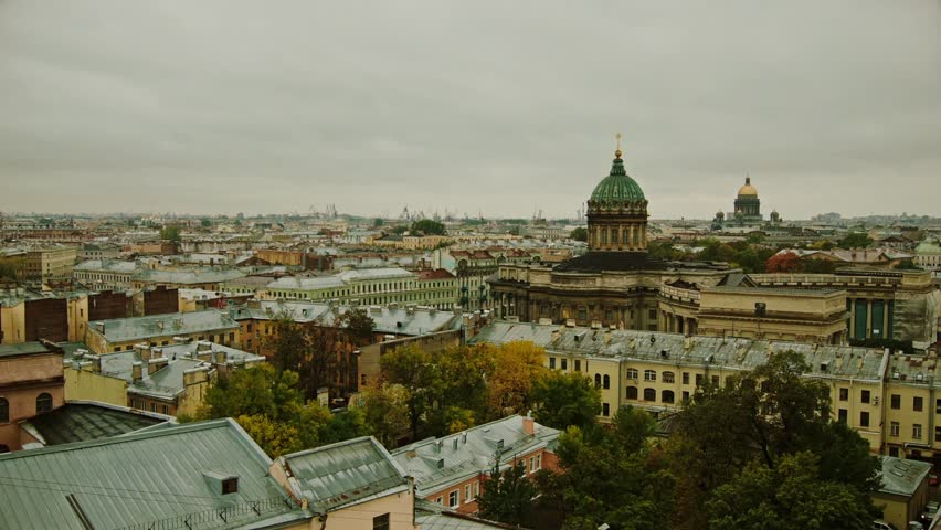 Saint-Petersburg, Russia. Saint Isaac's Cathedral. Big city , Old Town . View from above. City landscape. Historical Center. Panoramic view.   Shutterstock HD Video #15683689