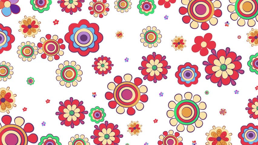 Bright flowers looping Animated Background. Animation of colorful flowers on white background