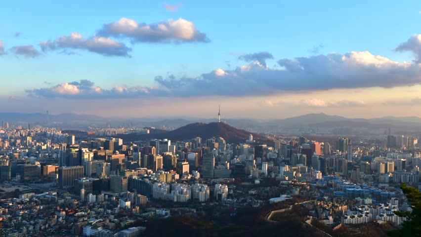 Time lapse of Seoul City Skyline,South Korea....