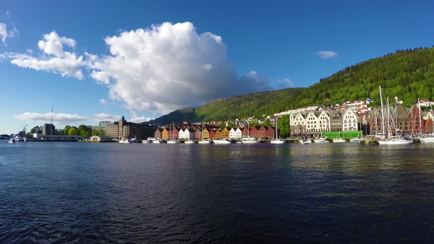Bryggen, The Central Harbour Area In Bergen, Norway. Stock Footage ...