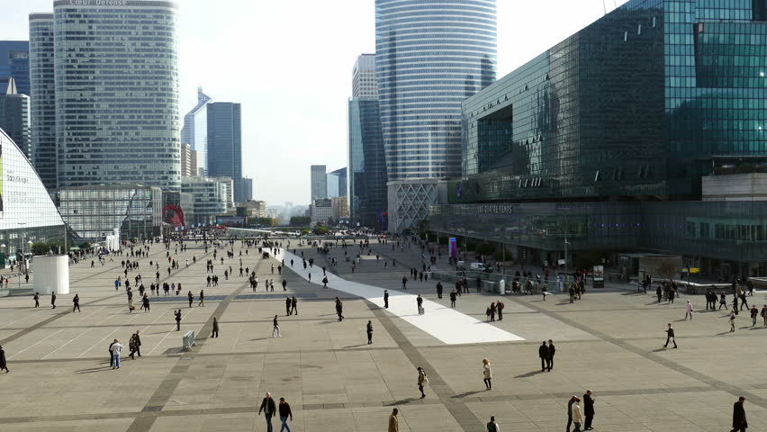 PARIS, FRANCE - OCTOBER 12, 2015: Time lapse in La Defense, commercial and business center of Paris, France. | Shutterstock HD Video #15857455