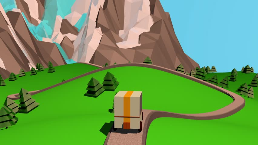 Low poly car on the road travel animation/Low poly car/Car on the road