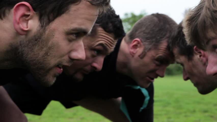August 11, 2011: Rugby players in scrum