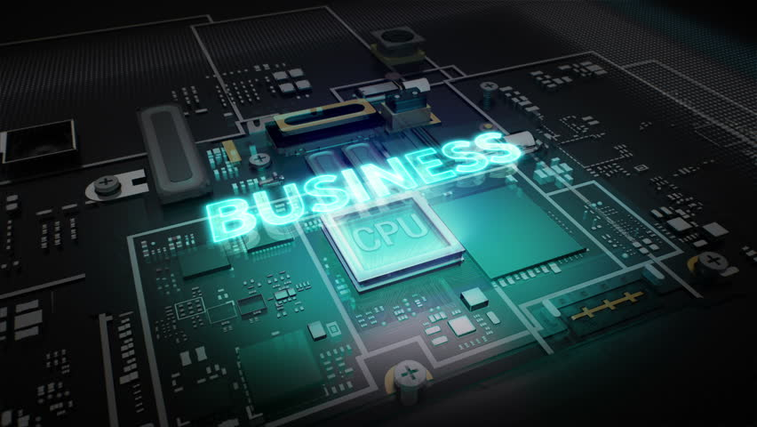 Hologram typo 'BUSINESS' on CPU chip circuit, grow artificial intelligence technology.   Shutterstock HD Video #15904408