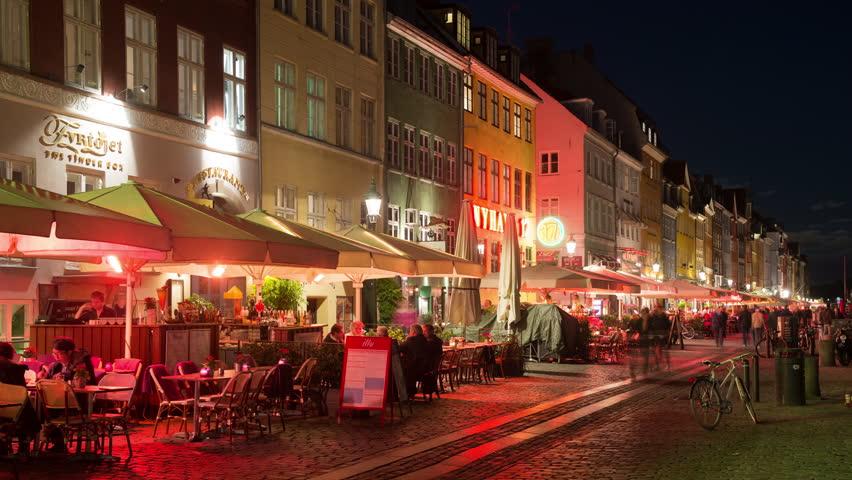 Time Lapse of Scenic Nyhavn District at Night  - Copenhagen Denmark - Circa November 2015 | Shutterstock HD Video #15917449