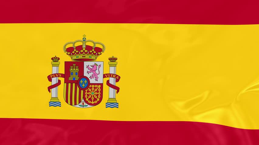 Spanish Flag - 4K Seamless Loop Animation of Waving Flag of Spain