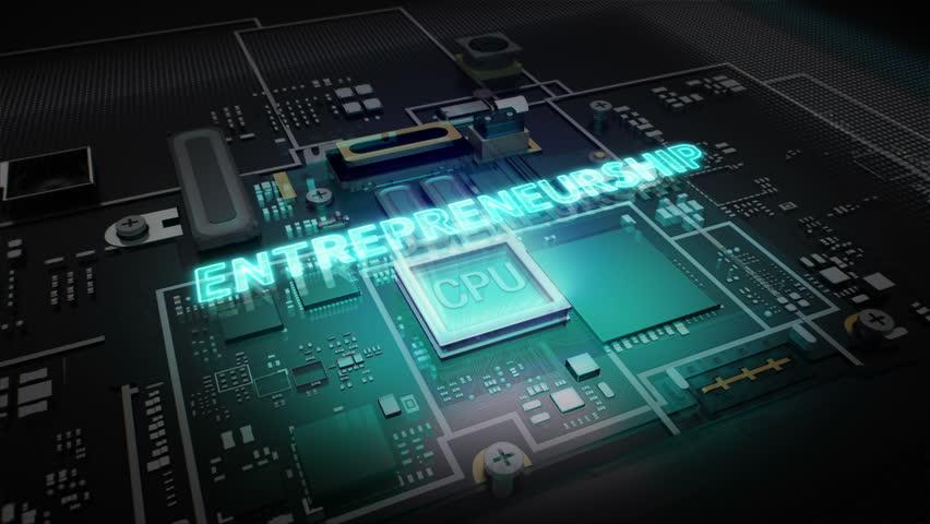 Hologram typo 'Entrepreneurship' on CPU chip circuit, grow artificial intelligence technology.   Shutterstock HD Video #16019014
