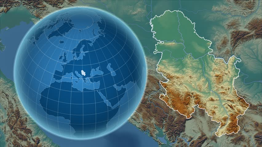 Serbia shape animated on the relief map of the globe | Shutterstock HD Video #16112386