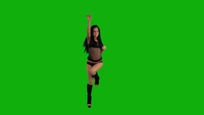 girl dancing on the green screen