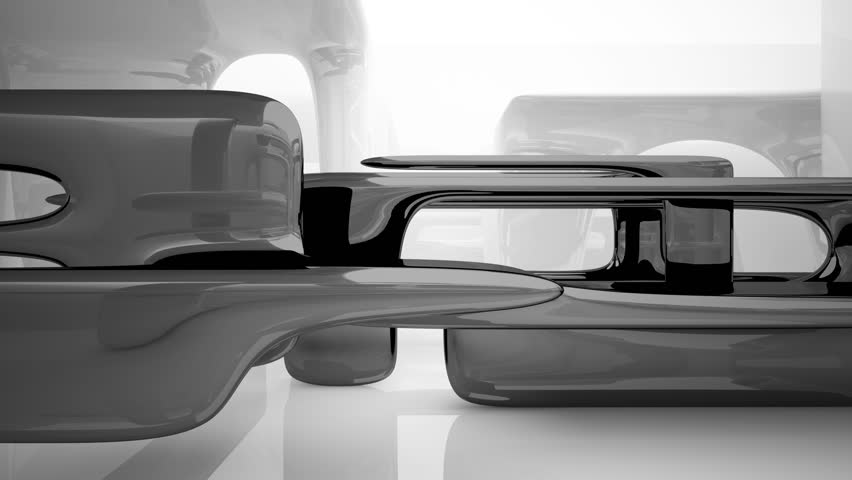 Abstract interior with glossy black and white sculpture. 3D Animation. 3D rendering.Part 3.