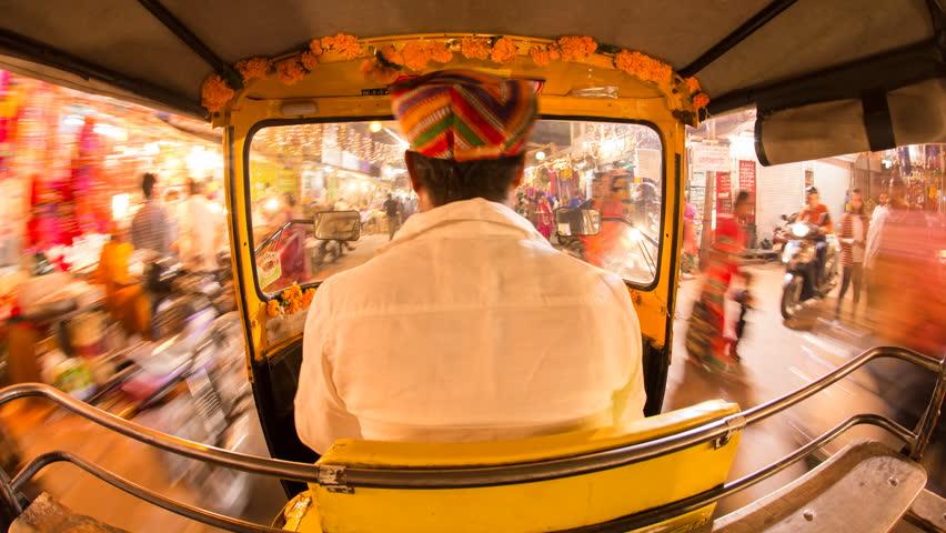Autorickshaw POV busy illuminated old city streets, Udaipur, Rajasthan, India - 4K timelapse - 01/11/2015 | Shutterstock HD Video #16193443