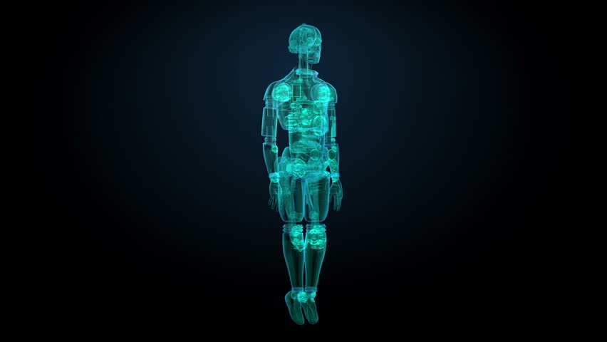 Rotating semitransparency 3D robot body, X-ray scan(included alpha)