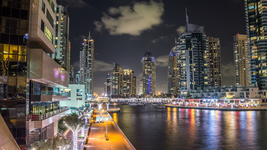 View of Dubai Marina Towers and canal in Dubai night timelapse hyperlapse | Shutterstock HD Video #16240531