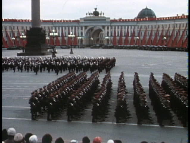 MOSCOW - CIRCA 1970: Soviet troops march in a grand parade during the Cold War in Moscow circa 1970