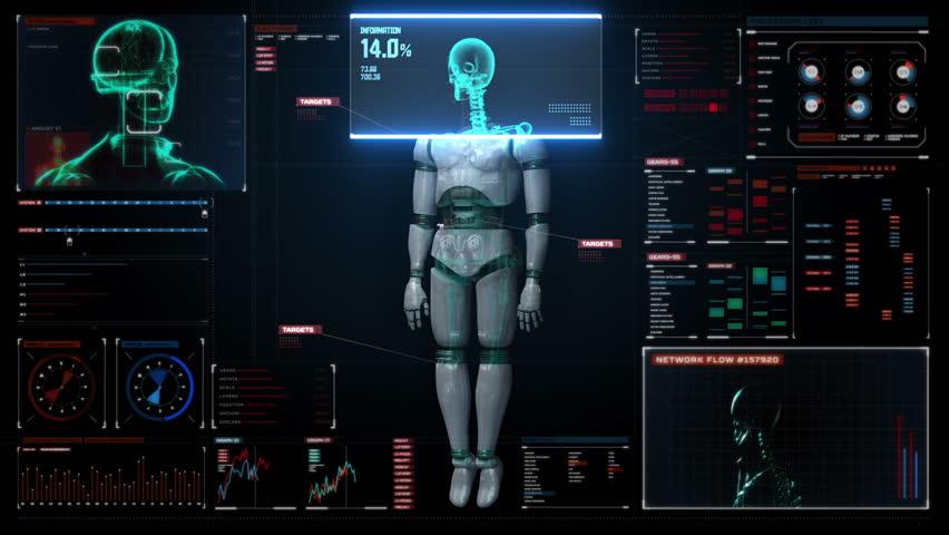 Scaning human skeletal structure inside Robot. bio technology.in digital medical display. user interface.