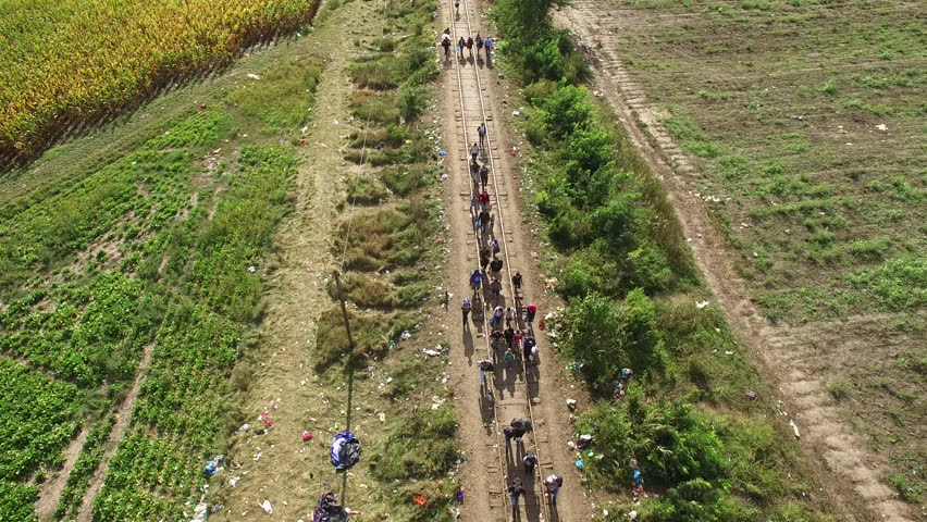Aerial shot of refugees crossing at Hungarian - Serbian border, 14. September 2015. The day before Hungary closing the border. Peoples walking on rail.