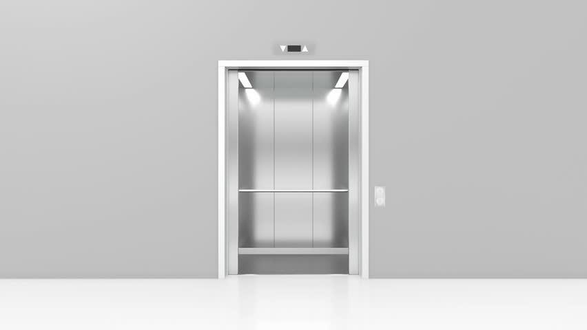 Opening doors in modern elevator. 3d animation
