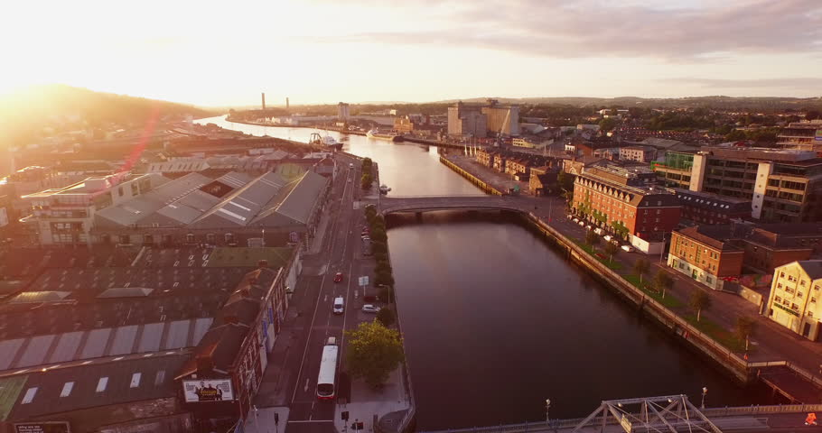 Aerial of the City of Cork, Ireland at Sunrise