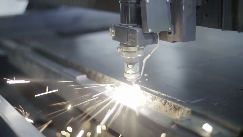 Cut sheet metal at workshop. Modern tool in heavy industry. Dangerous job. High precision manufacture of steel parts. Automation of process indoors. Automatic work for ironwork. Close up computer cnc | Shutterstock HD Video #16575883