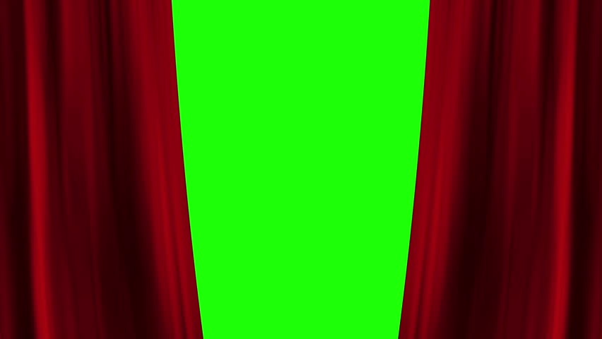 Opening and closing red curtain front of green screen. theater stage cinema intro. full hd and 4k.