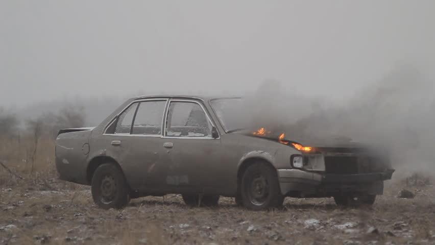 Car explosion, Slow-mo.