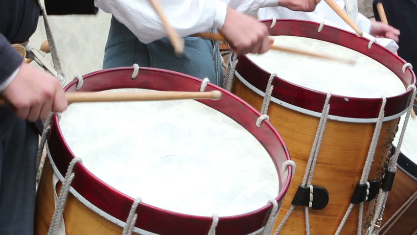 Close up of drums being played along with fife in a US Civil War reenactment