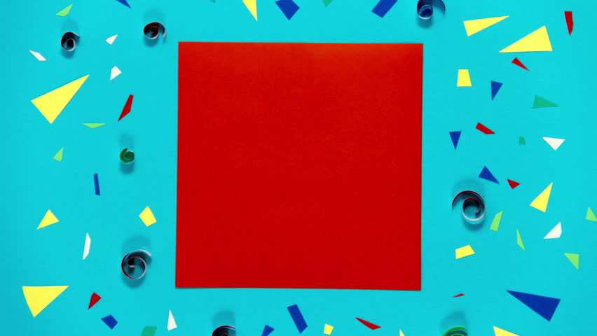 Set of lower third, windows and confetti backgrounds. Red and blue. Stop motion animation. Seamless loops.