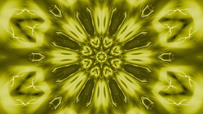 Golden rotating starlike swirl, kaleidoscopic seamlessly looping flame fractal animation