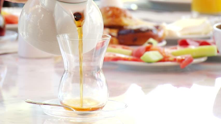 Turkish style tea in breakfast