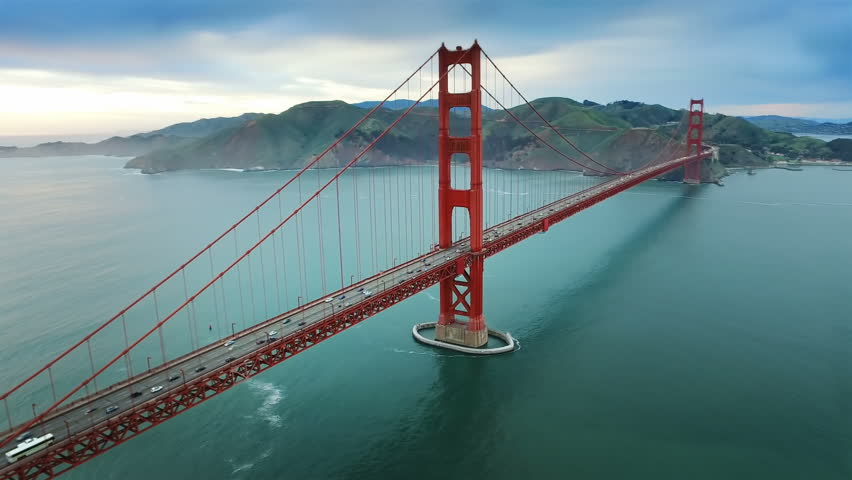 Aerial view of the Golden Gate Bridge in San Francisco. USA. Daylight. Shot from helicopter.