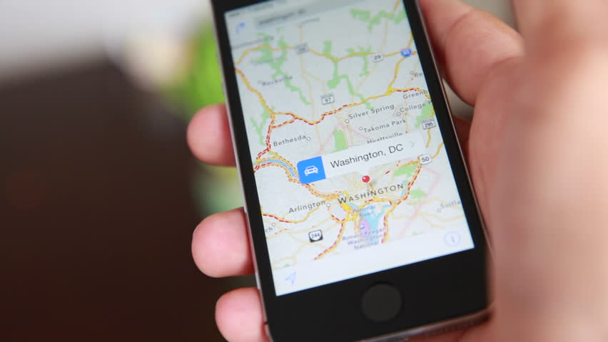 Close-Up Of Hands Using Google Maps In Smart Phone. Man Holds Phone In Hands And Uses Gps #16770832