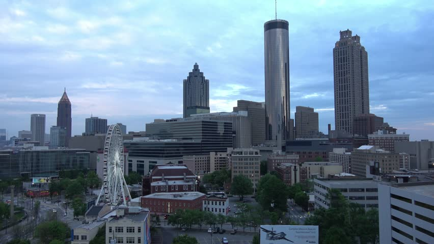 Atlanta Downtown skyline in the evening - aerial shot - ATLANTA / GEORGIA - APRIL 22, 2016