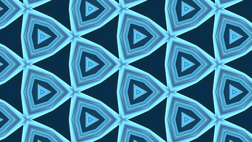 Bright blue rotating blue starlike swirl, kaleidoscopic seamlessly looping flame fractal animation