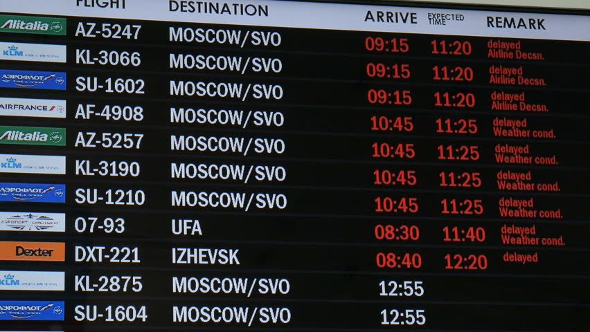 SAMARA, RUSSIA - APR, 2016: timetable in airport, delayed, weather condition 4K   Shutterstock HD Video #16851625