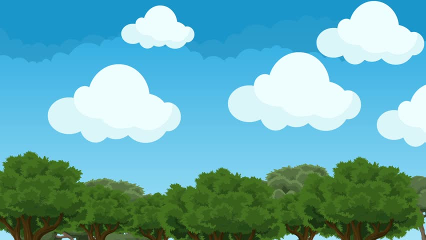 illustrated cartoon clouds on a bright blue sky animation