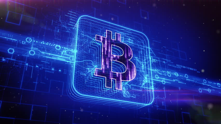 Abstract animation of bitcoin currency sign in digital cyberspace