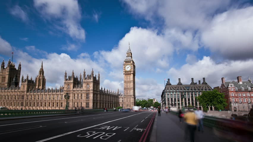 Big Ben, Houses of Parliament, and London Bridge  time lapse