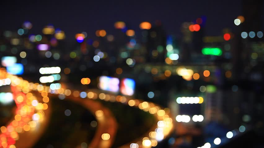 Night time in the city. Out of focus with blurry....