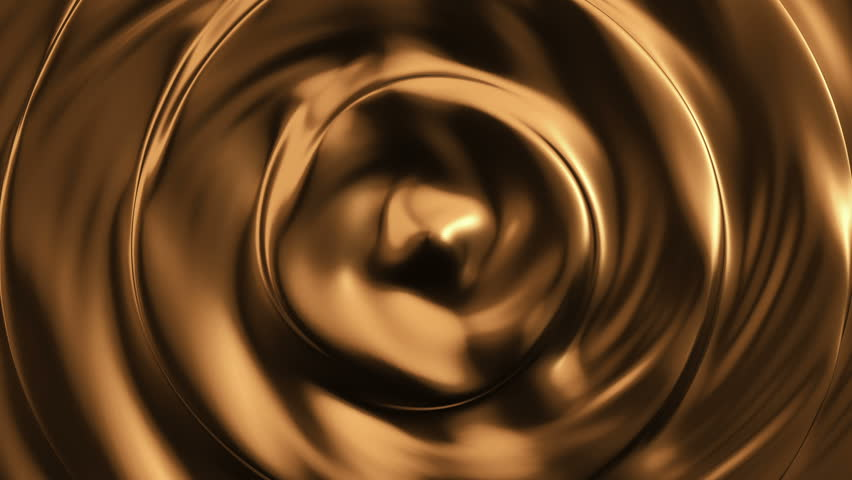 Animation of waves and ripples in liquid gold. Rippled surface of golden liquid metal. Animation of ripple on surface of golden paint. Animation of seamless loop.