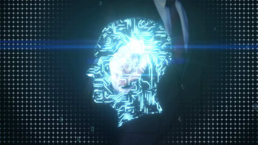 Businessman touching shape of brain head, connect digital lines, expanding artificial intelligence   Shutterstock HD Video #17202085