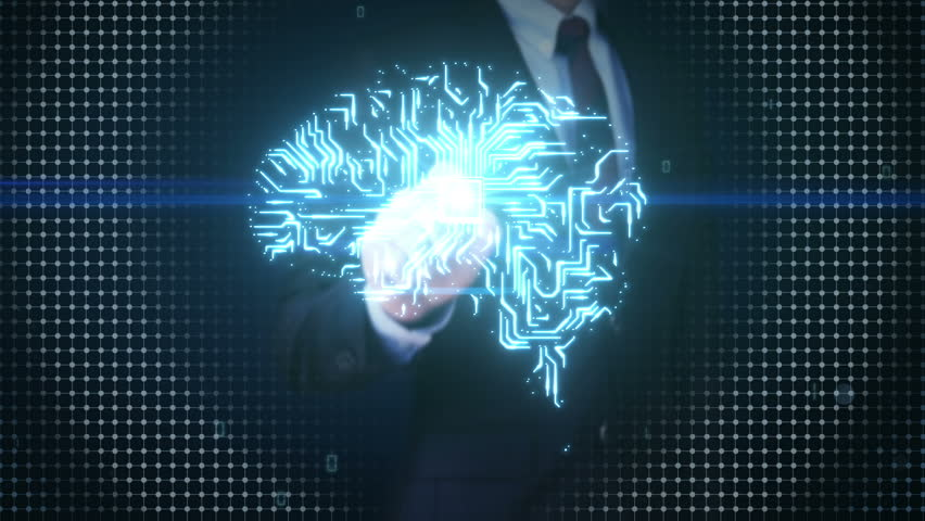 Businessman touching Brain CPU chip, grow artificial intelligence 2.   Shutterstock HD Video #17202310