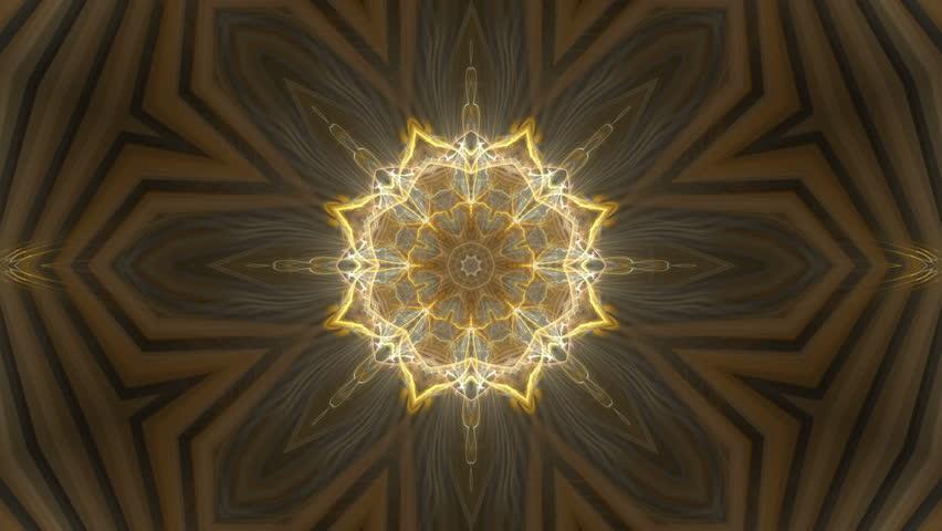 Orange Kaleidoscopic Stars â?? seamlessly looping flame fractal animation.